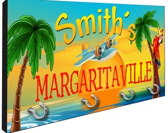Personalized Margaritaville Tropical Beach Key Rack from Redeye Laserworks