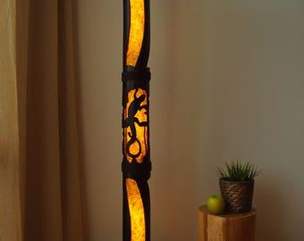 Reclaimed Wood Furniture, Floor Lamp, Standing Lamp, Bamboo Furniture, Shade Lamp, Rustic Home Decor, Paper Lamp, Yoga Studio Decor
