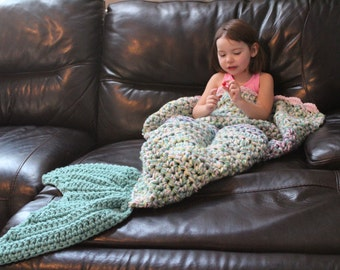 Large Mermaid Tail Blanket, will fit up to Average Size Adult - Ready To Ship - Seagreen, Baby Pink, Ombre (purple,green) Accent