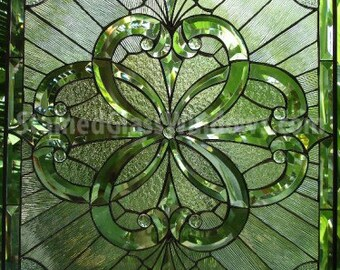 Wow!!!   Heavily Beveled Clear & Textured Stained Glass Window (we do custom work, email me for quote)