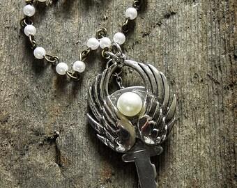 """Vintage Key Necklace """"Angel"""""""