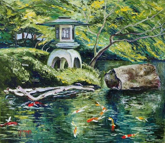 Oil painting japanese garden koi fish original artwork home for Japanese garden san jose koi fish