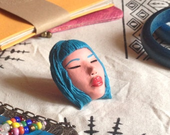 Pascaline-Blue brooch doll dollface