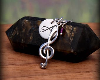 Music note necklace - Treble clef necklace - Personalized music necklace