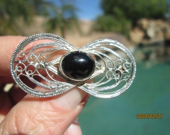 "Vintage Gorgeous 925 Sterling Silver Ornate Genuine Onyx Brooch/Pendant 2"" Long x 1"" Wide, 4.6 Grams"