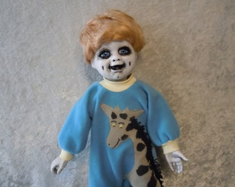 Creepy Doll Boy #19 Dark Art  Horror Collectible Day of the Dollies, doll stand not included