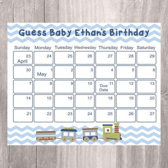 Baby Calendar Design : Baby shower guess s birthday personalized train