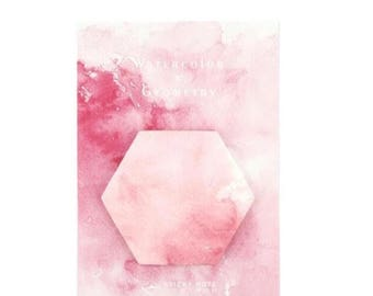 Pink, geometric water colour post-its