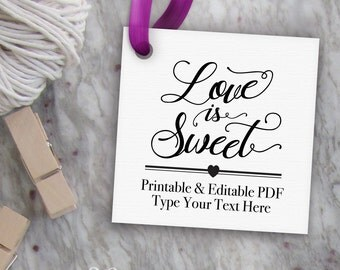 printable love is sweet tags diy printable wedding favor. Black Bedroom Furniture Sets. Home Design Ideas