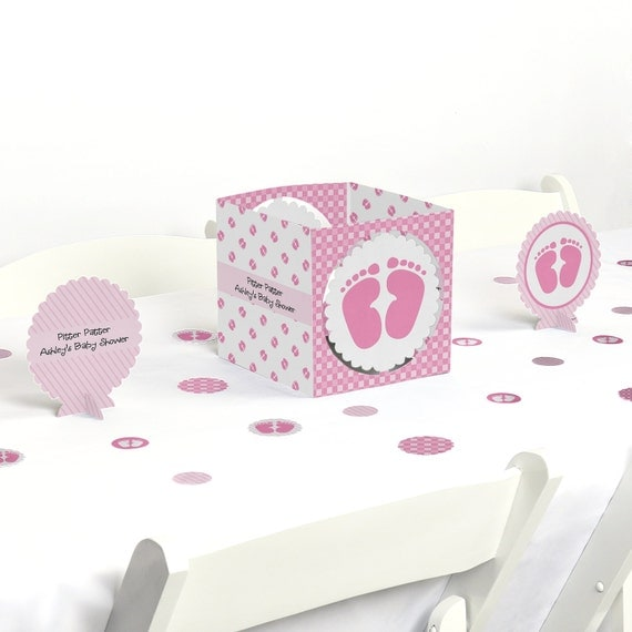 Baby feet pink centerpiece table decoration kit baby for Baby feet decoration