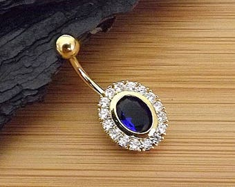 "14g 3/8"" (10mm) / Oval Shape Paved CZ Around Large Blue Oval CZ Gold Plated 316L Surgical Steel Belly Button Rings"