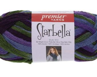 "Starbella Yarn, 1 Skein, Color 15-60, ""Purple Rain"", Purple, Blue, Green, Premier Yarns, 100% Acrylic"