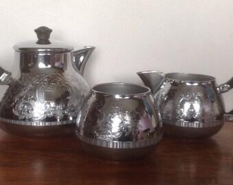 Swan Brand Carlton Tea Set. Cromalin Ware. 1960's.