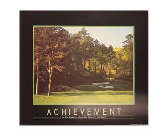Achievement Motivational 24x36 Print. Print Alone or Framed in Black Frame