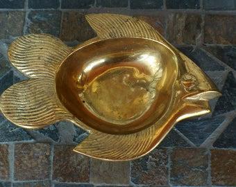 Vintage Solid Brass Fish Trinket/Change Dish