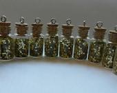 Glitter Filled Glass Vials - Gold Glitter Jars - Small Glass Bottle Pendants - Corked Jar Pendants - Gold Sparkle Bottles - Lot of 10