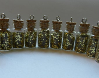 Glitter Filled Glass Vials - Gold Glitter Jars - Small Glass Bottle Pendants - Corked Jar Pendants - Gold Sparkle Bottles - Lot of 10