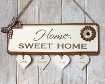 Personalised Family Gift Plaque - House Warming Gift Home Sweet Home