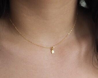 Tiny Gold Clover Necklace, Gold Chocker Necklace