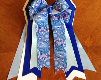 Horse Show Hair Bows, Blue Paisley Equestrian clothing/Ready2Mail with barrettes