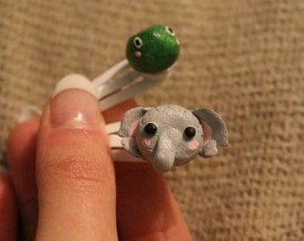 Cute Handmade Clay Elephant and Frog Animal Hair Clips
