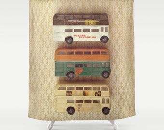 Beatles Buses Shower Curtain: home decor, bathroom, hipster, brown, yellow, toy, London, England, double decker bus, British