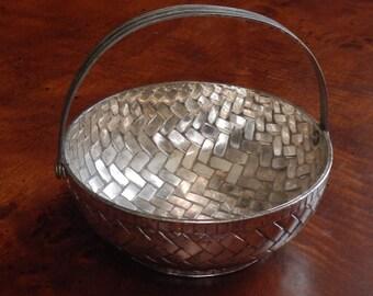 Unique Heavy Small Silver Plate Basket!