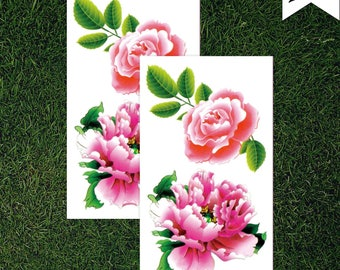 Rose Flower Peony Temporary Tattoo - Two Pink Flowers - Nature - (Set of 2)