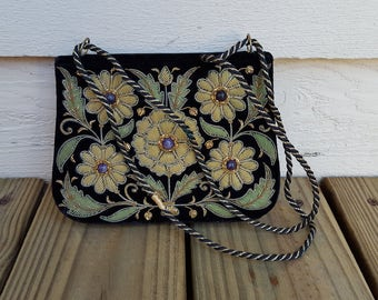 Vintage Black Velvet Indian Soutache Clutch w Silver & Gold Thread