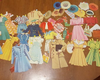 Lot of Vintage 1950's Paper Doll Clothes Like New