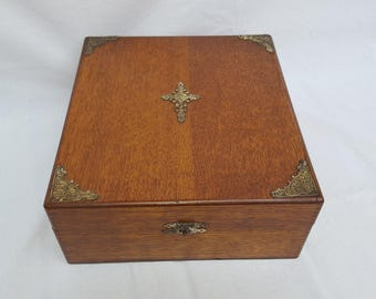 Large Antique Oak Box w Cross & Corner Adornments