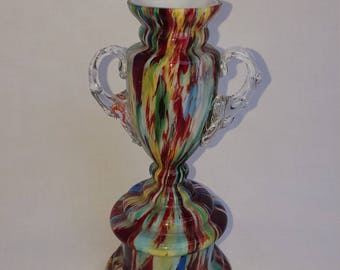 Antique 1920's Franz Welz Bohemian Trophy Style Art Glass Vase
