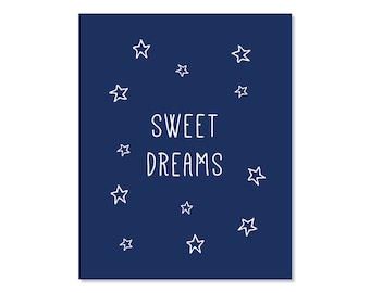 Nursery Art Printable Sweet Dreams Navy Blue Print Poster Instant Digital Download Stars Home Decor Kids Baby Shower Room Boy Girl Wall Art