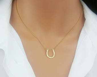 Horseshoe Necklace, Lucky Horseshoe, Minimalist Jewelry, Sterling Silver, Gold, Rose Gold, Gift For Her, Everyday Necklace, Delicate Silver