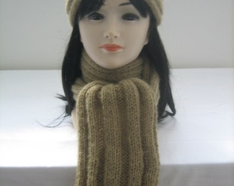 Scarf and headband set wool mohair and acrylic