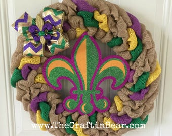 Mardi Gras burlap wreath - Mardi Gras wreath - Mardi Gras decor - Fleur De Lis Wreath - Fleur De Lis Decor - Fat Tuesday Decor
