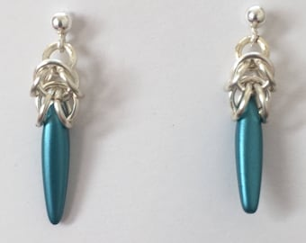 Czech Dagger Earrings - Chainmaille Stud Earrings