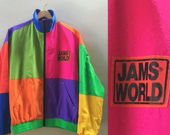 Vintage Jams World Jacket //  90's Neon Jams World Windbreaker