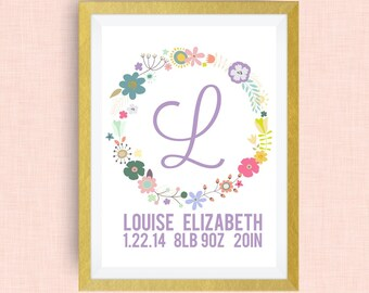 Custom Name Art - Custom Nursery Art - Wreath Name Art - Pick your colors!
