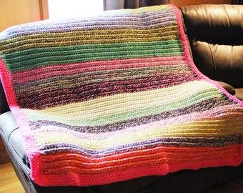 Afghan-Large Throw- colorful-bright-Border-Crochet- Handmade