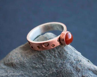 Sterling silver and copper ring with carnelian