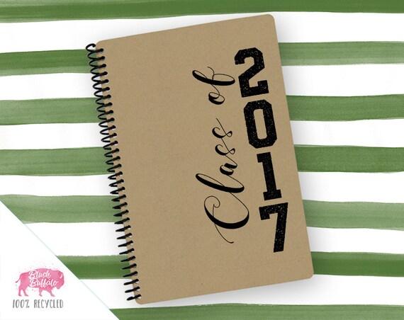 Spiral Notebook | Spiral Journal Planner | Journal | 100% Recycled | Graduation Gift | Class of 2017 | BB055LG