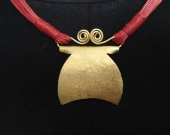 Hammered Bronze Red Cord Statement Necklace Contemporary Metalwork Bronze Pendant Red Cord and Bronze Pendant Necklace
