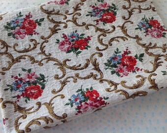 VINTAGE barkcloth fabric for projects craft cushion front patchwork sewing