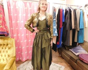 1980 Jessica McClintock  Taffata dress with jacket