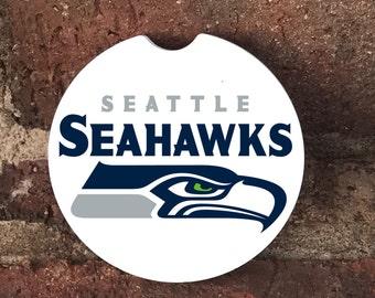 Custom Seattle Seahawks Absorbent Stone car coasters (set of 2)