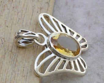 Citrine Gemstone Pendant, 925 Sterling Silver Pendant Jewelry, Butterfly Shape Citrine Pendant, November Birthstone Gift Pendant Necklace
