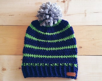 Seahawks inspired, Blue, Green & Grey Pom Pom Crochet beanie,