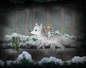 Winter in Bavaria - Wolf, Jackalope and boy ~ Prints