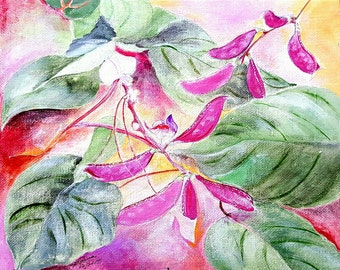 Acrylic Painting on Canvas Board - Pink Peas